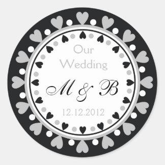 Wedding Monogram -  Grey Hearts Round Sticker