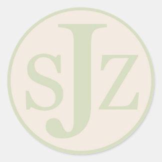 Wedding Monogram Logo Round Sticker