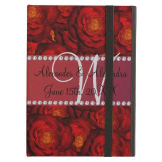 Wedding monogram red roses iPad air cover