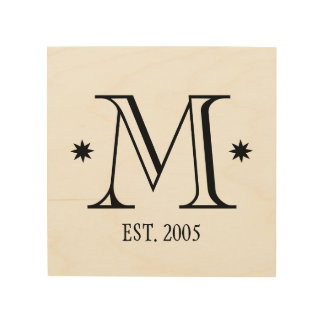 Wedding monogram rustic chic initial date wood wood print