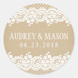 Wedding Monogram Sticker | Lace and Kraft