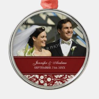 Wedding Ornament Favor Red White Damask