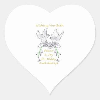 WEDDING PEACE AND JOY HEART STICKERS