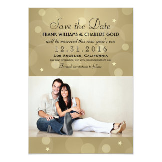 Wedding Photo Save the Date | Champagne Gold Card