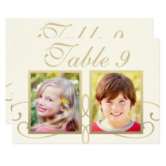 Wedding Photo Table Number Cards | Elegant Gold