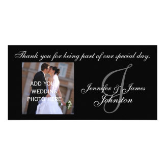 Wedding Photograph Thank You Card Monogram J Custom Photo Card
