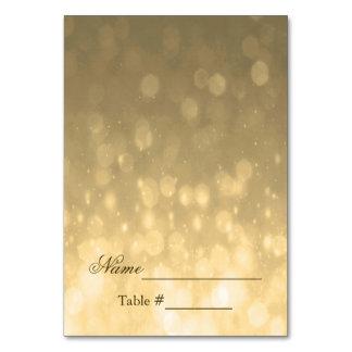 Wedding Place Card Gold Bokeh Lights