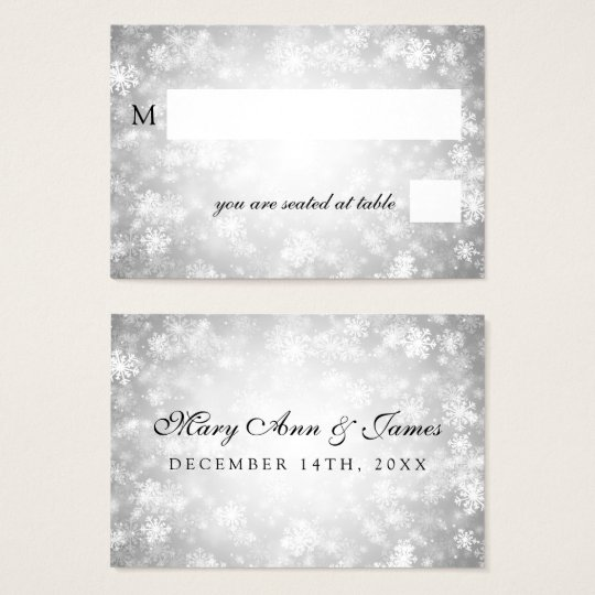 Wedding Placecards Silver Winter Wonderland Business Card
