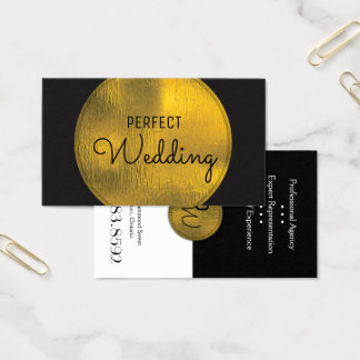 Wedding Planner Business Card Stylish Gold Foil