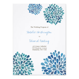 Wedding Program Blue Watercolor Dahlias Cards