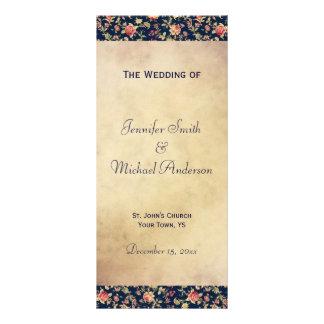 Wedding Program for Elegant Vintage Blue Rose Rack Card Template