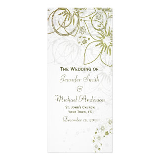 Wedding Program for Green and Gold Simple Wedding Personalized Rack Card