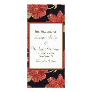 Wedding Program for Red Black Floral Wedding Rack Card