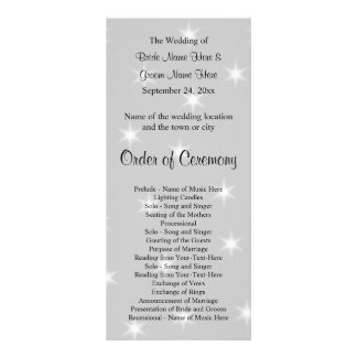 Wedding Program, Pale Gray with White Stars. Rack Card