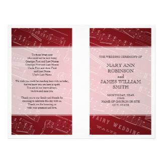 Wedding Program Sheet Music Red 21.5 Cm X 28 Cm Flyer