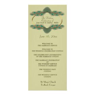 Wedding Programs - Green & Gold Rack Cards