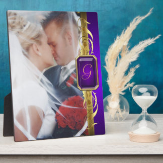 Wedding Purple Jewel Gold Scroll Photo Plaque