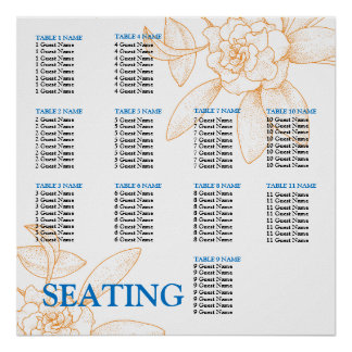 Wedding Reception Seating Chart Template Poster