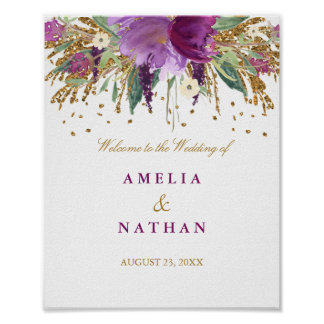 Wedding Reception Sign Floral Glitter Amethyst