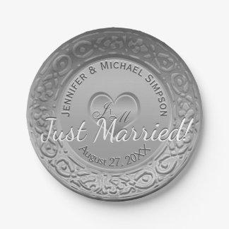 Wedding Reception Silver Faux Foil Paper Plate
