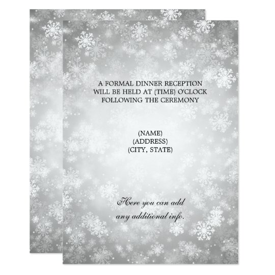 Wedding Reception Silver Winter Wonderland Card