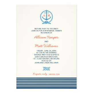 Wedding Rehearsal Dinner Nautical Theme Personalized Announcement