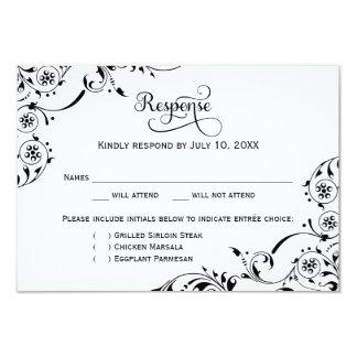 Wedding Response Card | Black Scroll