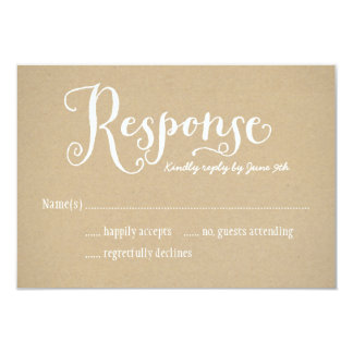 Wedding Response Postcard   Kraft Brown 9 Cm X 13 Cm Invitation Card