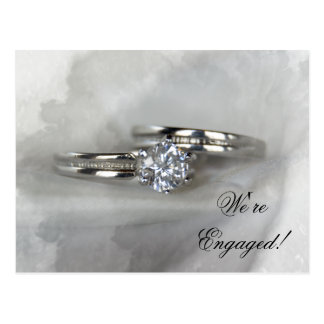 Wedding Rings on Gray Engagement Announcement Postcard