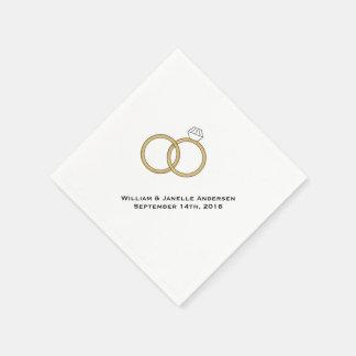 Wedding Rings Personalized Paper  Napkins Disposable Serviette