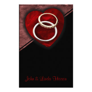 Wedding Rings Red Heart Stationery