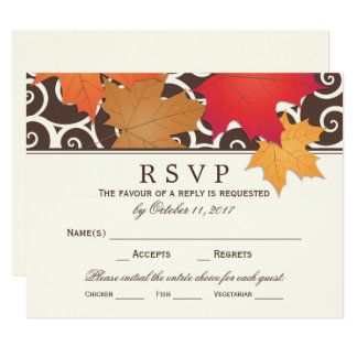 Wedding RSVP Card | Autumn Leaves Theme