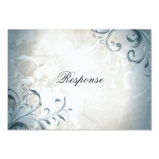 Wedding RSVP Elegant Vintage Foliage & Swirl 9 Cm X 13 Cm Invitation Card