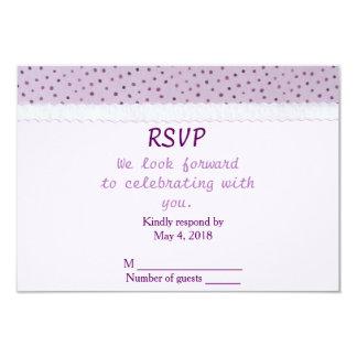 Wedding RSVP horizontal-Lilac Polka Dots with lace 9 Cm X 13 Cm Invitation Card