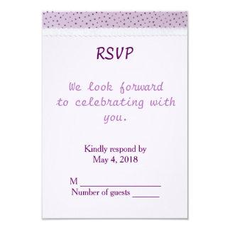 Wedding RSVP Portrait - Lilac Polka Dots with lace 9 Cm X 13 Cm Invitation Card