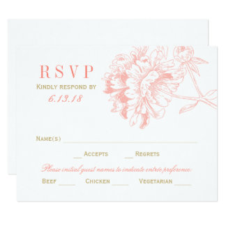 Wedding RSVP Postcards | Coral Floral Peony