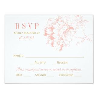 Wedding RSVP Postcards   Coral Floral Peony 11 Cm X 14 Cm Invitation Card