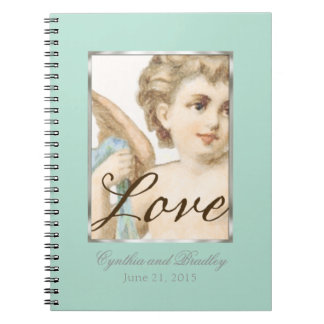 Wedding RSVP Tracker Notebook Cherub Mint Green