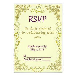 Wedding RSVP vertical-Floral Swirl in pale green 9 Cm X 13 Cm Invitation Card