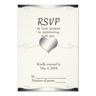 Wedding RSVP vertical-Heart and Swirl 9 Cm X 13 Cm Invitation Card