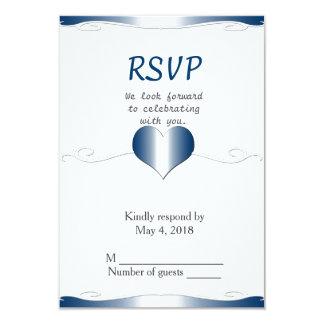 Wedding RSVP vertical-Heart and Swirl Blue 9 Cm X 13 Cm Invitation Card