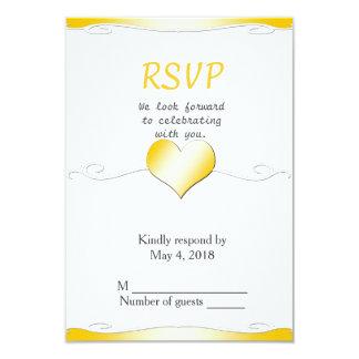 Wedding RSVP vertical-Heart and Swirl Gold 9 Cm X 13 Cm Invitation Card