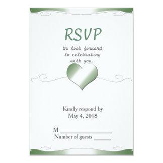 Wedding RSVP vertical-Heart and Swirl Green 9 Cm X 13 Cm Invitation Card