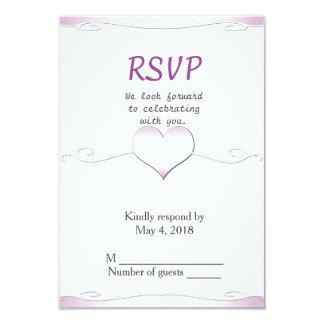 Wedding RSVP vertical-Heart and Swirl pink 9 Cm X 13 Cm Invitation Card