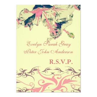 Wedding rsvp Vintage exotic floral brocade 14 Cm X 19 Cm Invitation Card