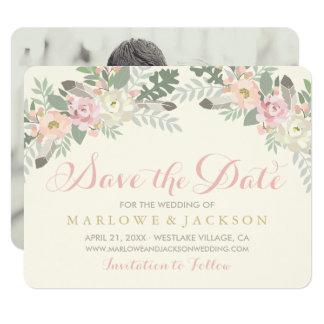 Wedding Save the Date Card | Spring Boho Florals 11 Cm X 14 Cm Invitation Card