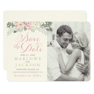 Wedding Save the Date Card | Spring Boho Florals 13 Cm X 18 Cm Invitation Card