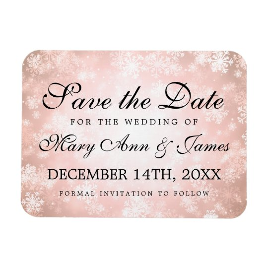 Wedding Save The Date Copper Winter Wonderland Rectangular Photo Magnet