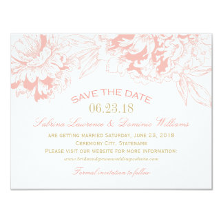 Wedding Save the Date | Coral Floral Peony Design 11 Cm X 14 Cm Invitation Card