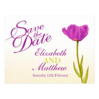 Wedding Save the Date Postcard purple tulip art